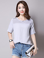Women's Casual/Daily Simple Summer T-shirt,Solid Round Neck Short Sleeve White / Gray Cotton / Linen Medium