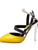 Women's Shoes PU Stiletto Heel Heels Sandals Dress Black / Yellow / Pink