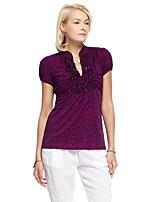 Damen Solide Einfach Ausgehen T-shirt,V-Ausschnitt Sommer Kurzarm Lila Polyester / Elasthan Dünn