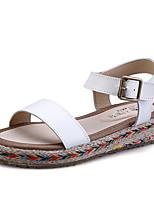 Women's Shoes Leather Flat Heel Comfort / Round Toe Sandals Dress Black / White