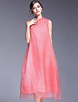 AFOLD® Women's Stand Sleeveless Midi Dress-5643