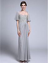 Lanting Bride Sheath / Column Mother of the Bride Dress Ankle-length Half Sleeve Chiffon with Side Draping / Sequins