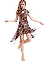 Dança do Ventre Vestidos Mulheres Treino Fibra de Leite Padrão/Estampado / Leopardo 2 Peças Roxo / Vermelho / Estampado LeopardoDança do