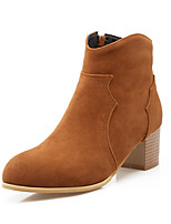 Women's Shoes Fleece Fall/Winter Bootie/Round Toe Boots Office & Career/Casual Chunky Heel Zipper Black/Yellow/Beige