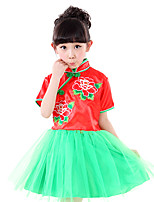 Performance Dresses Children's Performance Polyester Sequins 1 Piece Red