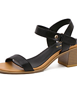 Women's Shoes Leather Summer Heels / Round Toe / Open Toe Dress Chunky Heel Buckle Black / White