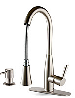 Contemporary Deck Mounted Pullout Spray Ceramic Valve Single Handle One Hole Nickel Brushed Kitchen Faucet