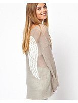 Women's Party/Cocktail Street chic Cardigan,Solid Pink / White Long Sleeve Nylon Fall Translucent