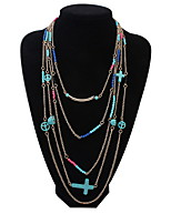 Multi-Color Imitation Turquoise Cross Necklace