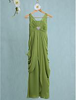 Lanting Bride Floor-length Chiffon Junior Bridesmaid Dress Sheath / Column V-neck with Crystal Brooch