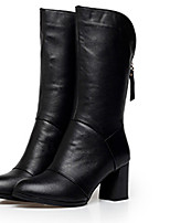 Boots Winter Combat Boots Leather Outdoor / Casual Chunky Heel Zipper Black / Red