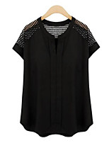 Women's New Style Cut Out Short Sleeve Plus Size Top Bodycon wmAll Matches Loose Chiffon Women's T-shirts