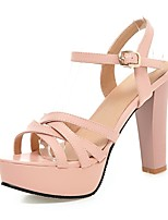 Women's Summer / Fall Heels / Platform PU Office & Career / Casual Chunky Heel Buckle Black / Pink / White