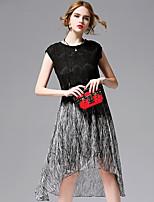 AFOLD® Women's Round Neck Short Sleeve Knee-length Dress-5690