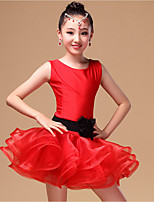 Latin Dance Dresses Children's Performance Nylon / Organza Ribbon 3 Pieces Fuchsia / Light Green / Red Sleeveless