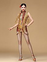Latin Dance Dresses Women's Performance Sequined / Viscose Sequins / Tassel(s)1 Piece Tiger Stripes / Leopard Print