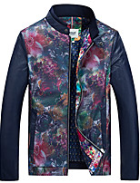 Men's Long Sleeve Casual / Work / Formal / Sport / Plus Sizes Jacket,PU / Polyester Camouflage Blue / Red