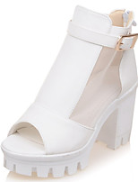 Women's Shoes Chunky Heel Peep Toe Buckle Zip Platform Mesh Sandal More Color Available
