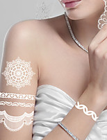 Wedding Gift Flash Waterproof Tattoo Women White Lace Butterfly Bracelet Chain Wed Bridal Tattoo(1 piece)