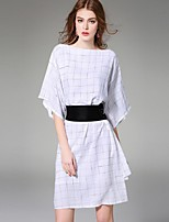 Boutique S Women's Going out Street chic A Line Dress,Check Round Neck Asymmetrical ½ Length Sleeve White Linen Summer