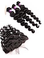 Trame cheveux avec fermeture Cheveux Mongoliens Ondulation Lâche 12 mois 4 Pièces tissages de cheveux