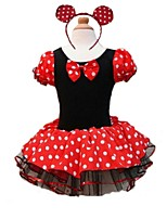 Ballet Outfits Children's Performance Cotton Draped 2 Pieces Red Ballet Short Sleeve Natural Dress / Hair Band