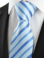 KissTies Men's Classic Striped Baby Blue Microfiber Tie Necktie For Wedding Holiday With Gift Box