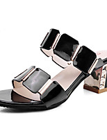 Women's Shoes Patent Leather Summer Peep Toe / Slingback Sandals Party & Evening / Dress Chunky Heel Black / White