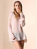 Women's Going out Simple / Cute Regular Pullover,Solid Round Neck Long Sleeve Wool Spring / Summer Thin