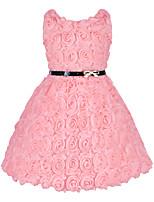 Vestido Chica de-Fiesta/Cóctel-Un Color-Poliéster-Todas las Temporadas-Rosa / Rojo / Blanco