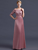 Formal Evening Dress Sheath / Column Off-the-shoulder Floor-length Satin with Lace / Sash / Ribbon