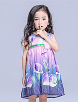 Girl's Casual/Daily Floral Dress,Cotton / Polyester All Seasons Purple