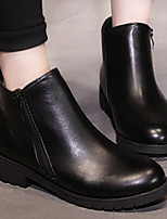 Boots Winter Combat Boots PU Casual Low Heel Zipper Black