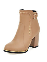 Women's Shoes Leatherette Fall / Winter Fashion Boots / Round Toe Boots Office & Career /  Casual Chunky Heel Buckle