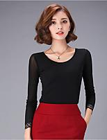 Tee-shirt Aux femmes,Couleur Pleine Décontracté / Quotidien simple Automne Manches Longues Col Arrondi Rose / Rouge / Noir Polyester Moyen