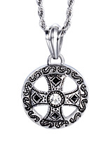 Vintage Style Jewelry Men's Stainless Steel Cross Round Pendant Necklace
