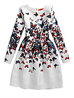 Girl's Casual/Daily Print Dress,Polyester Summer White
