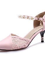 Women's Shoes Stiletto Heel Pointed Toe Ankle Strap Pearl Lace D'orsay Pump More Color Available