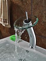 Contemporary Fashion Bathroom Glass Circle Waterfall Basin Faucet(High)