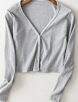 Women's Casual/Daily Street chic Cardigan,Solid Pink / Gray Long Sleeve Cotton Fall Thin
