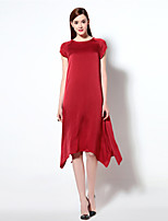 Boutique S Women's Going out Simple Sheath Dress,Solid Round Neck Asymmetrical ½ Length Sleeve Red / Black