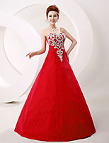 Formal Evening Dress A-line Strapless Floor-length Lace / Tulle with Crystal Detailing