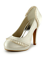 Women's Spring / Summer / Fall Heels / Round Toe Silk Wedding / Dress / Party & Evening Stiletto Heel Ruched / Slip-on Ivory / White