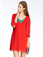Women's Going out Simple Chiffon Dress,Solid Round Neck Above Knee ¾ Sleeve Red Polyester Summer