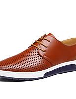 Men's Oxfords Summer Comfort Leather Casual Flat Heel Lace-up Black Brown Blue Walking