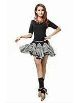 Latin Dance Outfits Women's Performance Spandex Draped 2 Pieces Black Latin Dance Half Sleeve Natural Top / Skirt