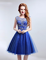 Cocktail Party Dress A-line Scoop Knee-length Tulle with Beading / Crystal Brooch Short Homecoming Gowns