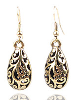 Personality Retro Folk Style Hollow Carved Drop Earrings