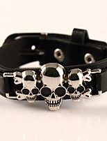 Three Skull Genuine Leather Jewelry Punk Handmade Classic Vintage High Quality Bracelets
