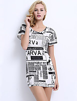 Women's Casual/Daily Street chic Sheath Dress,Print Round Neck Above Knee Short Sleeve White Nylon Summer